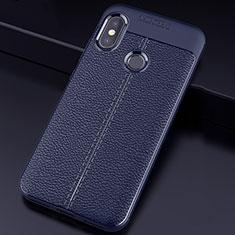 Coque Silicone Gel Motif Cuir Housse Etui pour Xiaomi Redmi 6 Pro Bleu