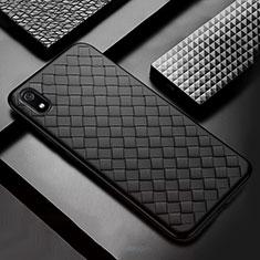 Coque Silicone Gel Motif Cuir Housse Etui pour Xiaomi Redmi 7A Noir