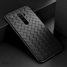 Coque Silicone Gel Motif Cuir Housse Etui pour Xiaomi Redmi 9 Prime India Noir