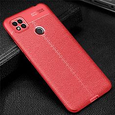 Coque Silicone Gel Motif Cuir Housse Etui pour Xiaomi Redmi 9C NFC Rouge