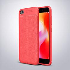 Coque Silicone Gel Motif Cuir Housse Etui pour Xiaomi Redmi Go Rouge