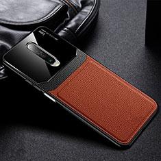 Coque Silicone Gel Motif Cuir Housse Etui pour Xiaomi Redmi K30 4G Marron