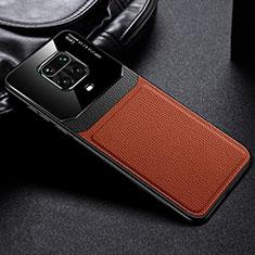 Coque Silicone Gel Motif Cuir Housse Etui pour Xiaomi Redmi Note 9 Pro Max Marron
