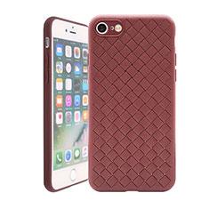 Coque Silicone Gel Motif Cuir Housse Etui S01 pour Apple iPhone 7 Marron