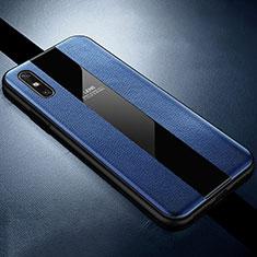 Coque Silicone Gel Motif Cuir Housse Etui S01 pour Huawei Enjoy 10e Bleu