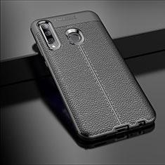 Coque Silicone Gel Motif Cuir Housse Etui S01 pour Huawei Enjoy 9s Noir
