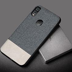 Coque Silicone Gel Motif Cuir Housse Etui S01 pour Huawei Honor 10 Lite Gris
