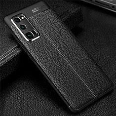 Coque Silicone Gel Motif Cuir Housse Etui S01 pour Huawei Honor 30 Pro Noir
