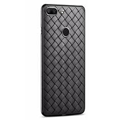 Coque Silicone Gel Motif Cuir Housse Etui S01 pour Huawei Honor 9 Lite Noir