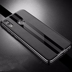 Coque Silicone Gel Motif Cuir Housse Etui S01 pour Huawei Honor View 10 Lite Noir