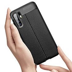 Coque Silicone Gel Motif Cuir Housse Etui S01 pour Huawei P30 Pro Noir