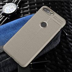Coque Silicone Gel Motif Cuir Housse Etui S01 pour OnePlus 5T A5010 Gris