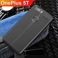 Coque Silicone Gel Motif Cuir Housse Etui S01 pour OnePlus 5T A5010 Noir