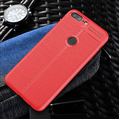 Coque Silicone Gel Motif Cuir Housse Etui S01 pour OnePlus 5T A5010 Rouge