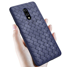 Coque Silicone Gel Motif Cuir Housse Etui S01 pour OnePlus 7 Bleu