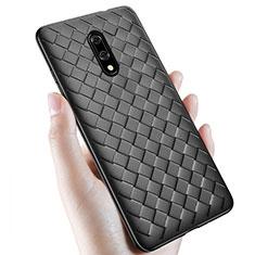 Coque Silicone Gel Motif Cuir Housse Etui S01 pour OnePlus 7 Noir
