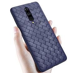 Coque Silicone Gel Motif Cuir Housse Etui S01 pour OnePlus 7 Pro Bleu