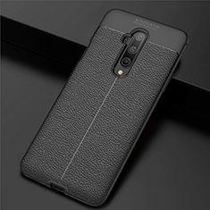 Coque Silicone Gel Motif Cuir Housse Etui S01 pour OnePlus 7T Pro Noir