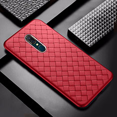 Coque Silicone Gel Motif Cuir Housse Etui S01 pour Oppo A9 Rouge