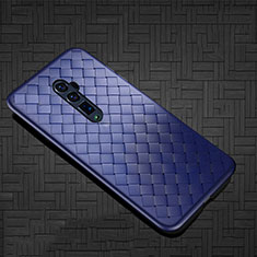 Coque Silicone Gel Motif Cuir Housse Etui S01 pour Oppo Reno 10X Zoom Bleu