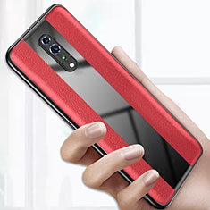 Coque Silicone Gel Motif Cuir Housse Etui S01 pour Oppo Reno Z Rouge