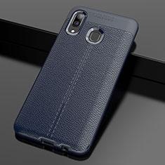Coque Silicone Gel Motif Cuir Housse Etui S01 pour Samsung Galaxy A30 Bleu