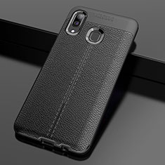 Coque Silicone Gel Motif Cuir Housse Etui S01 pour Samsung Galaxy A30 Noir