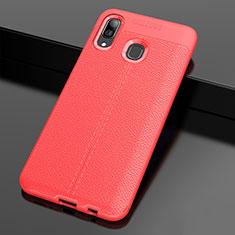 Coque Silicone Gel Motif Cuir Housse Etui S01 pour Samsung Galaxy A30 Rouge