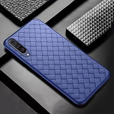 Coque Silicone Gel Motif Cuir Housse Etui S01 pour Samsung Galaxy A50 Bleu