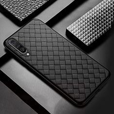 Coque Silicone Gel Motif Cuir Housse Etui S01 pour Samsung Galaxy A50 Noir
