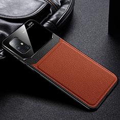 Coque Silicone Gel Motif Cuir Housse Etui S01 pour Samsung Galaxy A51 5G Marron