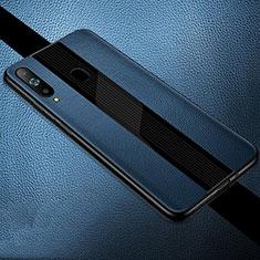 Coque Silicone Gel Motif Cuir Housse Etui S01 pour Samsung Galaxy A8s SM-G8870 Bleu