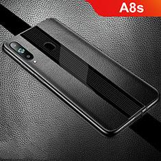 Coque Silicone Gel Motif Cuir Housse Etui S01 pour Samsung Galaxy A8s SM-G8870 Noir