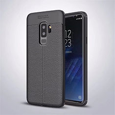 Coque Silicone Gel Motif Cuir Housse Etui S01 pour Samsung Galaxy S9 Plus Noir