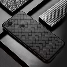 Coque Silicone Gel Motif Cuir Housse Etui S01 pour Xiaomi Mi 8 Lite Noir