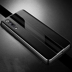 Coque Silicone Gel Motif Cuir Housse Etui S01 pour Xiaomi Mi 9 Noir