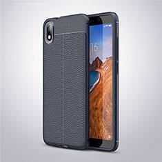 Coque Silicone Gel Motif Cuir Housse Etui S01 pour Xiaomi Redmi 7A Bleu