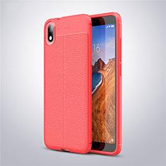 Coque Silicone Gel Motif Cuir Housse Etui S01 pour Xiaomi Redmi 7A Rouge