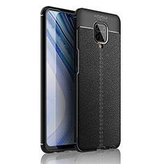 Coque Silicone Gel Motif Cuir Housse Etui S01 pour Xiaomi Redmi Note 9 Pro Noir