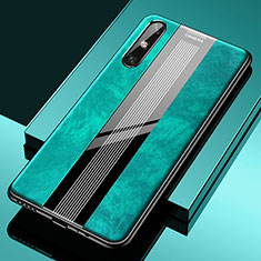 Coque Silicone Gel Motif Cuir Housse Etui S02 pour Huawei Enjoy 10e Vert