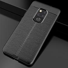 Coque Silicone Gel Motif Cuir Housse Etui S02 pour Huawei Mate 20 Noir