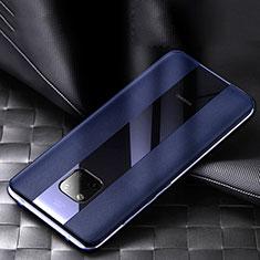 Coque Silicone Gel Motif Cuir Housse Etui S02 pour Huawei Mate 20 Pro Bleu
