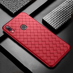 Coque Silicone Gel Motif Cuir Housse Etui S02 pour Huawei Nova 3i Rouge