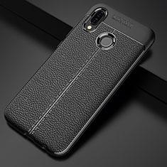 Coque Silicone Gel Motif Cuir Housse Etui S02 pour Huawei P20 Lite Noir