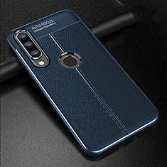 Coque Silicone Gel Motif Cuir Housse Etui S02 pour Huawei P30 Lite Bleu