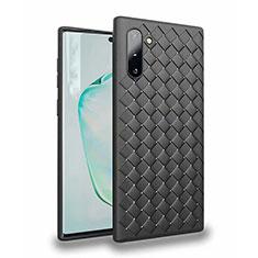 Coque Silicone Gel Motif Cuir Housse Etui S02 pour Samsung Galaxy Note 10 Noir