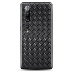 Coque Silicone Gel Motif Cuir Housse Etui S02 pour Xiaomi Mi 10 Pro Noir