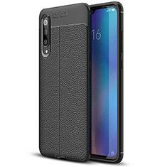 Coque Silicone Gel Motif Cuir Housse Etui S02 pour Xiaomi Mi 9 Noir