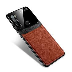 Coque Silicone Gel Motif Cuir Housse Etui S02 pour Xiaomi Redmi Note 8T Marron