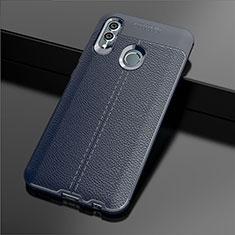 Coque Silicone Gel Motif Cuir Housse Etui S03 pour Huawei Honor 10 Lite Bleu